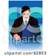 Royalty Free RF Clipart Illustration Of A Business Man Using A Laptop 1 by mayawizard101