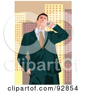 Royalty Free RF Clipart Illustration Of A Business Man Having A Conversation On A Cell Phone 4 by mayawizard101