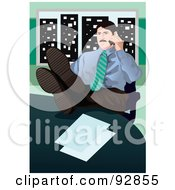 Royalty Free RF Clipart Illustration Of A Business Man Having A Conversation On A Cell Phone 5 by mayawizard101