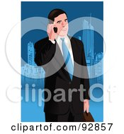 Royalty Free RF Clipart Illustration Of A Business Man Having A Conversation On A Cell Phone 2 by mayawizard101