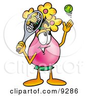Clipart Picture Of A Vase Of Flowers Mascot Cartoon Character Preparing To Hit A Tennis Ball by Toons4Biz