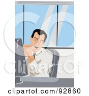 Royalty Free RF Clipart Illustration Of A Business Man In An Office 3 by mayawizard101
