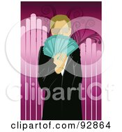 Royalty Free RF Clipart Illustration Of A Business Man Holding A Hand Full Of Cash