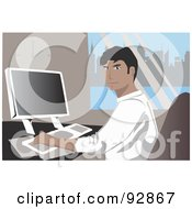 Royalty Free RF Clipart Illustration Of A Business Man In An Office 4 by mayawizard101