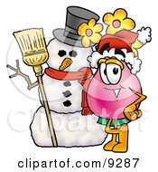 Clipart Picture Of A Vase Of Flowers Mascot Cartoon Character With A Snowman On Christmas by Toons4Biz