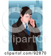 Royalty Free RF Clipart Illustration Of A Business Man Having A Conversation On A Cell Phone 1 by mayawizard101