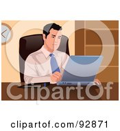 Royalty Free RF Clipart Illustration Of A Business Man Using A Laptop 2 by mayawizard101