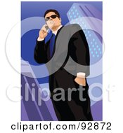 Royalty Free RF Clipart Illustration Of A Business Man Having A Conversation On A Cell Phone 3 by mayawizard101
