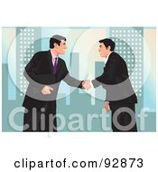 Royalty Free RF Clipart Illustration Of Urban Businessmen Shaking Hands 2