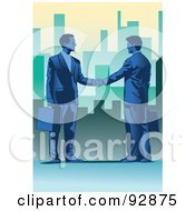 Royalty Free RF Clipart Illustration Of Urban Businessmen Shaking Hands 1
