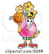 Clipart Picture Of A Vase Of Flowers Mascot Cartoon Character Spinning A Basketball On His Finger by Toons4Biz