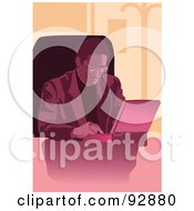 Royalty Free RF Clipart Illustration Of A Pink Businessman Using A Laptop by mayawizard101
