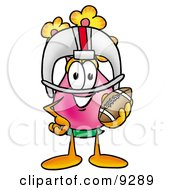 Vase Of Flowers Mascot Cartoon Character In A Helmet Holding A Football by Toons4Biz