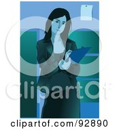 Royalty Free RF Clipart Illustration Of A Business Woman Standing And Taking Notes by mayawizard101