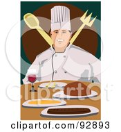 Royalty Free RF Clipart Illustration Of A Professional Culinary Chef 7 by mayawizard101