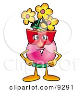 Clipart Picture Of A Vase Of Flowers Mascot Cartoon Character Wearing A Red Mask Over His Face by Toons4Biz