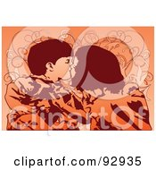 Royalty Free RF Clipart Illustration Of Two Kids Kissing