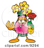 Clipart Picture Of A Vase Of Flowers Mascot Cartoon Character Holding A Red Rose On Valentines Day by Toons4Biz