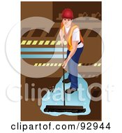 Royalty Free RF Clipart Illustration Of A Worker Using A Push Broom To Clean A Floor