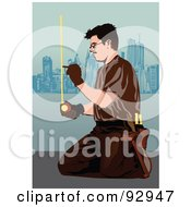 Royalty Free RF Clipart Illustration Of A Measuring Carpenter by mayawizard101