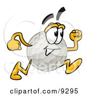 Clipart Picture Of A Golf Ball Mascot Cartoon Character Running by Toons4Biz