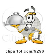 Clipart Picture Of A Golf Ball Mascot Cartoon Character Dressed As A Waiter And Holding A Serving Platter