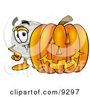 Clipart Picture Of A Golf Ball Mascot Cartoon Character With A Carved Halloween Pumpkin