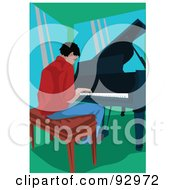 Royalty Free RF Clipart Illustration Of A Male Pianist by mayawizard101