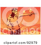 Royalty Free RF Clipart Illustration Of A Man Practicing At A Shooting Range