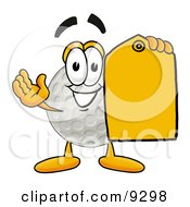 Golf Ball Mascot Cartoon Character Holding A Yellow Sales Price Tag