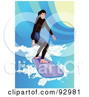 Royalty Free RF Clipart Illustration Of A Surfing Woman In A Wetsuit