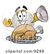 Clipart Picture Of A Golf Ball Mascot Cartoon Character Serving A Thanksgiving Turkey On A Platter by Toons4Biz