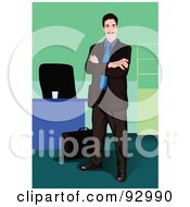 Royalty Free RF Clipart Illustration Of A Business Man In An Office 7