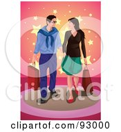 Royalty Free RF Clipart Illustration Of A Happy Shopping COuple With Bags 1 by mayawizard101