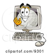 Clipart Picture Of A Golf Ball Mascot Cartoon Character Waving From Inside A Computer Screen by Toons4Biz