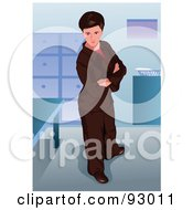 Royalty Free RF Clipart Illustration Of A Stern Business Woman Standing In An Office by mayawizard101