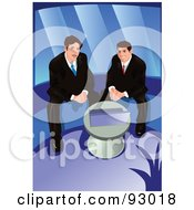 Royalty Free RF Clipart Illustration Of Business Men Using A Laptop by mayawizard101