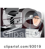 Royalty Free RF Clipart Illustration Of A Man Operating A Drill In A Steel Factory by mayawizard101