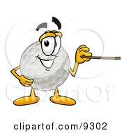 Golf Ball Mascot Cartoon Character Holding A Pointer Stick