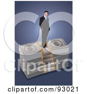 Royalty Free RF Clipart Illustration Of A Business Man On Top Of Bundled Money