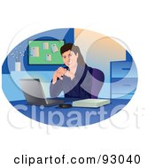 Royalty Free RF Clipart Illustration Of A Business Woman Smiling By Her Laptop In An Office by mayawizard101