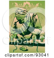 Royalty Free RF Clipart Illustration Of A Man Assembling A Light Fixture