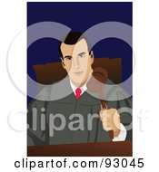 Royalty Free RF Clipart Illustration Of A Professional Male Judge In A Gown Holding A Gavel