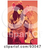 Royalty Free RF Clipart Illustration Of A Female Drummer by mayawizard101