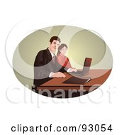 Royalty Free RF Clipart Illustration Of A Business Team Using A Laptop In An Oval by mayawizard101