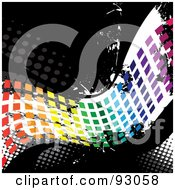 Royalty Free RF Clipart Illustration Of A Rainbow Wave Of Pixels Over Distressed Black And White With Halftone
