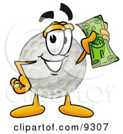 Clipart Picture Of A Golf Ball Mascot Cartoon Character Holding A Dollar Bill