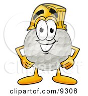 Clipart Picture Of A Golf Ball Mascot Cartoon Character Wearing A Helmet