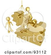 Royalty Free RF Clipart Illustration Of 3d Rendered Gold Men Directing A Hoisted Puzzle Piece Into A Space