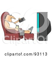 Relaxed Guy Sitting In A Chair With A Beverage Pointing A Remote At A TV